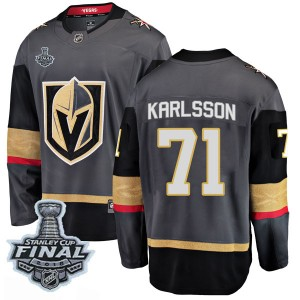Fanatics Branded William Karlsson Vegas Golden Knights Men's Breakaway Black Home 2018 Stanley Cup Final Patch Jersey - Gold
