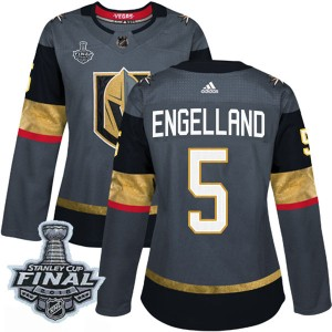 Adidas Deryk Engelland Vegas Golden Knights Women's Authentic Gray Home 2018 Stanley Cup Final Patch Jersey - Gold