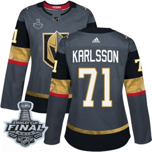 Adidas William Karlsson Vegas Golden Knights Women's Authentic Gray Home 2018 Stanley Cup Final Patch Jersey - Gold
