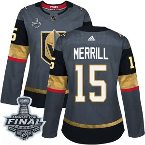 Adidas Jon Merrill Vegas Golden Knights Women's Authentic Gray Home 2018 Stanley Cup Final Patch Jersey - Gold
