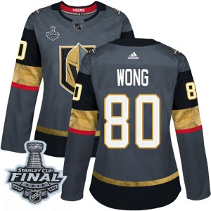 Adidas Tyler Wong Vegas Golden Knights Women's Authentic Gray Home 2018 Stanley Cup Final Patch Jersey - Gold