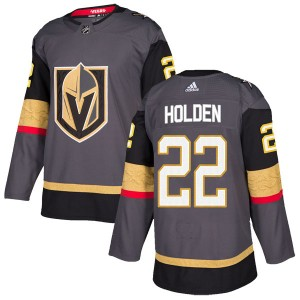 Adidas Nick Holden Vegas Golden Knights Men's Authentic Gray Home Jersey - Gold