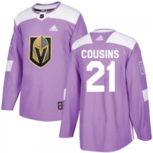 Adidas Nick Cousins Vegas Golden Knights Men's Authentic ized Fights Cancer Practice Jersey - Purple