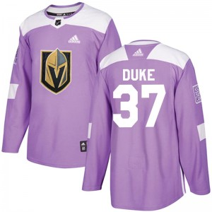 Adidas Reid Duke Vegas Golden Knights Men's Authentic Fights Cancer Practice Jersey - Purple