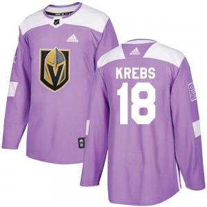 Adidas Peyton Krebs Vegas Golden Knights Men's Authentic ized Fights Cancer Practice Jersey - Purple