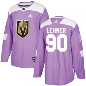 Adidas Robin Lehner Vegas Golden Knights Men's Authentic ized Fights Cancer Practice Jersey - Purple