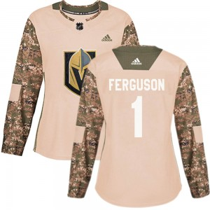 Adidas Dylan Ferguson Vegas Golden Knights Women's Authentic Camo Veterans Day Practice Jersey - Gold