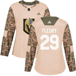 Adidas Marc-Andre Fleury Vegas Golden Knights Women's Authentic Camo Veterans Day Practice Jersey - Gold