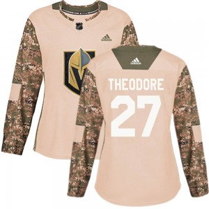 Adidas Shea Theodore Vegas Golden Knights Women's Authentic Camo Veterans Day Practice Jersey - Gold