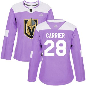 Adidas William Carrier Vegas Golden Knights Women's Authentic Fights Cancer Practice 2018 Stanley Cup Final Patch Jersey - Purpl