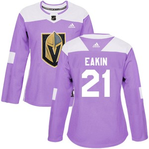 Adidas Cody Eakin Vegas Golden Knights Women's Authentic Fights Cancer Practice 2018 Stanley Cup Final Patch Jersey - Purple