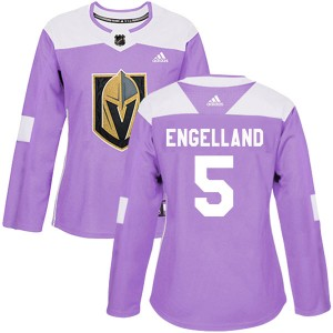 Adidas Deryk Engelland Vegas Golden Knights Women's Authentic Fights Cancer Practice 2018 Stanley Cup Final Patch Jersey - Purpl