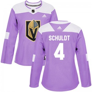 Adidas Jimmy Schuldt Vegas Golden Knights Women's Authentic Fights Cancer Practice 2018 Stanley Cup Final Patch Jersey - Purple