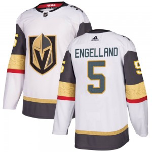 Adidas Deryk Engelland Vegas Golden Knights Youth Authentic White Away Jersey - Gold
