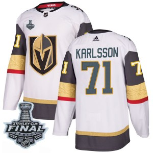 Adidas William Karlsson Vegas Golden Knights Men's Authentic White Away 2018 Stanley Cup Final Patch Jersey - Gold