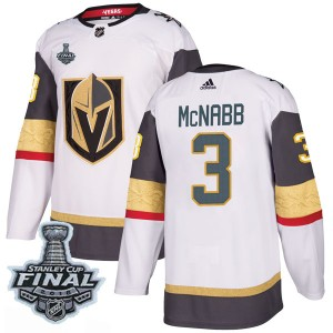 Adidas Brayden McNabb Vegas Golden Knights Men's Authentic White Away 2018 Stanley Cup Final Patch Jersey - Gold