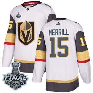 Adidas Jon Merrill Vegas Golden Knights Men's Authentic White Away 2018 Stanley Cup Final Patch Jersey - Gold