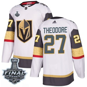Adidas Shea Theodore Vegas Golden Knights Men's Authentic White Away 2018 Stanley Cup Final Patch Jersey - Gold
