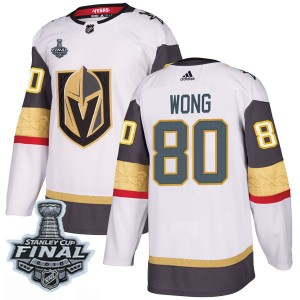 Adidas Tyler Wong Vegas Golden Knights Men's Authentic White Away 2018 Stanley Cup Final Patch Jersey - Gold