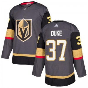 Adidas Reid Duke Vegas Golden Knights Youth Authentic Gray Home Jersey - Gold