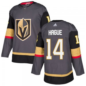 Adidas Nicolas Hague Vegas Golden Knights Youth Authentic Gray Home Jersey - Gold