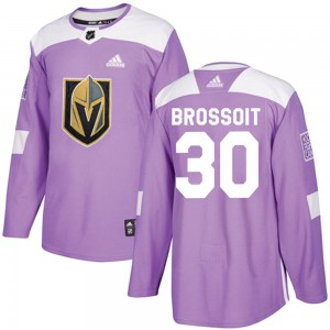 Adidas Laurent Brossoit Vegas Golden Knights Youth Authentic Fights Cancer Practice Jersey - Purple