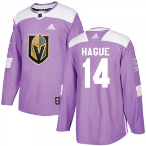 Adidas Nicolas Hague Vegas Golden Knights Youth Authentic Fights Cancer Practice Jersey - Purple