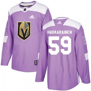 Adidas Mikael Hakkarainen Vegas Golden Knights Youth Authentic Fights Cancer Practice Jersey - Purple