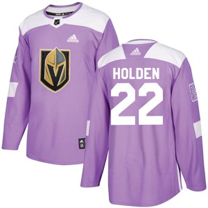 Adidas Nick Holden Vegas Golden Knights Youth Authentic Fights Cancer Practice Jersey - Purple