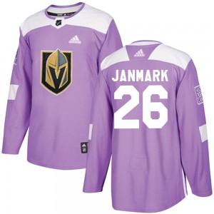 Adidas Mattias Janmark Vegas Golden Knights Youth Authentic Fights Cancer Practice Jersey - Purple