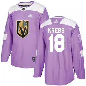 Adidas Peyton Krebs Vegas Golden Knights Youth Authentic ized Fights Cancer Practice Jersey - Purple