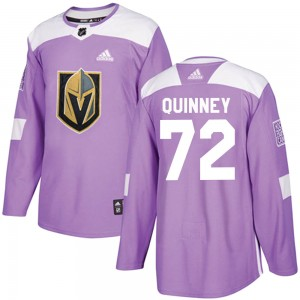 Adidas Gage Quinney Vegas Golden Knights Youth Authentic ized Fights Cancer Practice Jersey - Purple