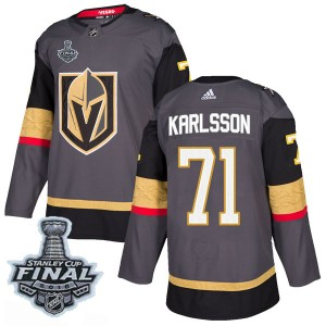Adidas William Karlsson Vegas Golden Knights Men's Authentic Gray Home 2018 Stanley Cup Final Patch Jersey - Gold