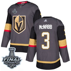 Adidas Brayden McNabb Vegas Golden Knights Men's Authentic Gray Home 2018 Stanley Cup Final Patch Jersey - Gold