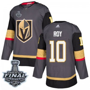 Adidas Nicolas Roy Vegas Golden Knights Men's Authentic Gray Home 2018 Stanley Cup Final Patch Jersey - Gold