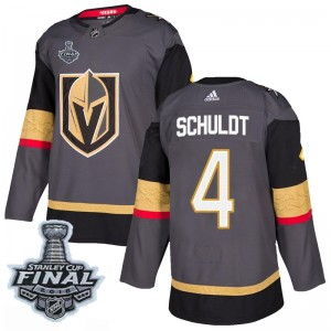 Adidas Jimmy Schuldt Vegas Golden Knights Men's Authentic Gray Home 2018 Stanley Cup Final Patch Jersey - Gold