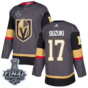 289cd2062 Adidas Nick Suzuki Vegas Golden Knights Men s Authentic Gray Home 2018  Stanley Cup Final Patch Jersey