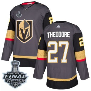 Adidas Shea Theodore Vegas Golden Knights Men's Authentic Gray Home 2018 Stanley Cup Final Patch Jersey - Gold