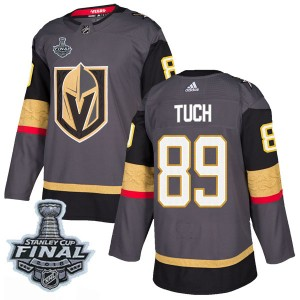 Adidas Alex Tuch Vegas Golden Knights Men's Authentic Gray Home 2018 Stanley Cup Final Patch Jersey - Gold