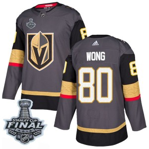 Adidas Tyler Wong Vegas Golden Knights Men's Authentic Gray Home 2018 Stanley Cup Final Patch Jersey - Gold