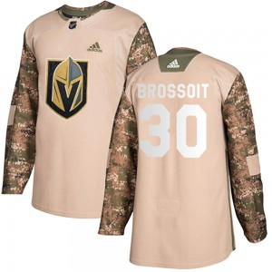 Adidas Laurent Brossoit Vegas Golden Knights Youth Authentic Camo Veterans Day Practice Jersey - Gold