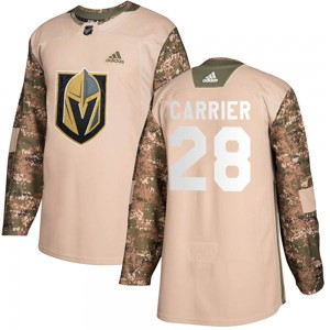 Adidas William Carrier Vegas Golden Knights Youth Authentic Camo Veterans Day Practice Jersey - Gold