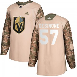 Adidas Nick DeSimone Vegas Golden Knights Youth Authentic Camo Veterans Day Practice Jersey - Gold
