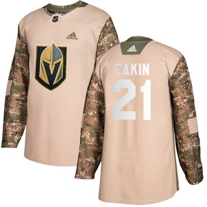 Adidas Cody Eakin Vegas Golden Knights Youth Authentic Camo Veterans Day Practice Jersey - Gold