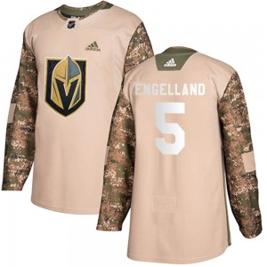 Adidas Deryk Engelland Vegas Golden Knights Youth Authentic Camo Veterans Day Practice Jersey - Gold