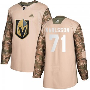Adidas William Karlsson Vegas Golden Knights Youth Authentic Camo Veterans Day Practice Jersey - Gold