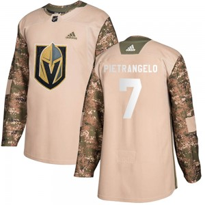 Adidas Alex Pietrangelo Vegas Golden Knights Youth Authentic Camo Veterans Day Practice Jersey - Gold