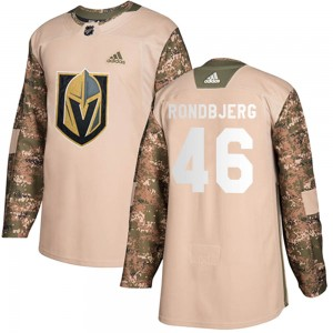 Adidas Jonas Rondbjerg Vegas Golden Knights Youth Authentic Camo Veterans Day Practice Jersey - Gold