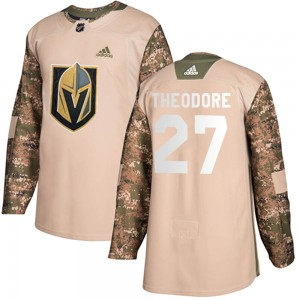 Adidas Shea Theodore Vegas Golden Knights Youth Authentic Camo Veterans Day Practice Jersey - Gold