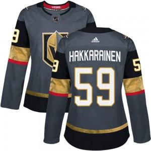 Adidas Mikael Hakkarainen Vegas Golden Knights Women's Authentic Gray Home Jersey - Gold